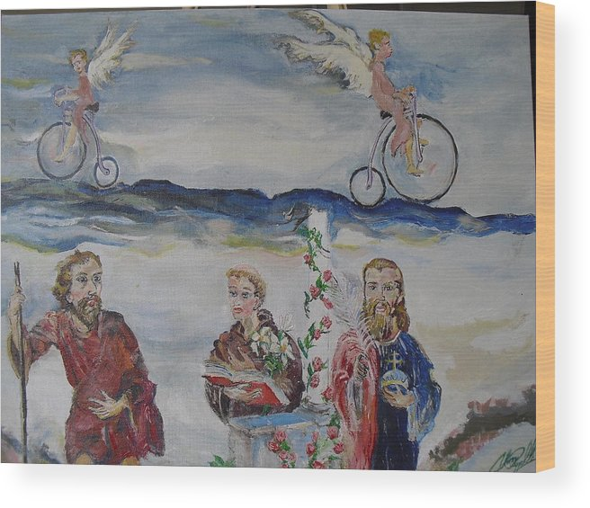Religious Wood Print featuring the painting Three Saints by John Cappello