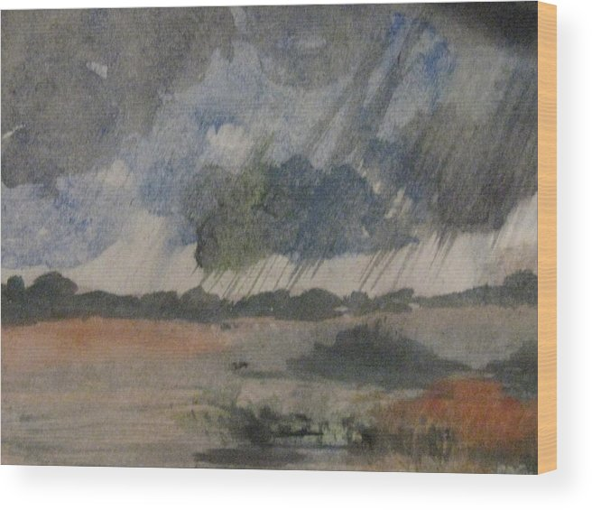 Rain Wood Print featuring the painting Thunder Showers by Trilby Cole