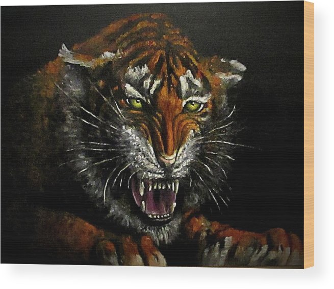 Animal Wood Print featuring the painting Tiger-1 Original Oil Painting by Natalja Picugina