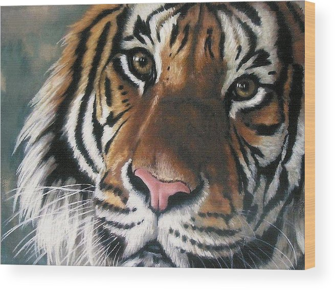 Tiger Wood Print featuring the pastel Tigger by Barbara Keith