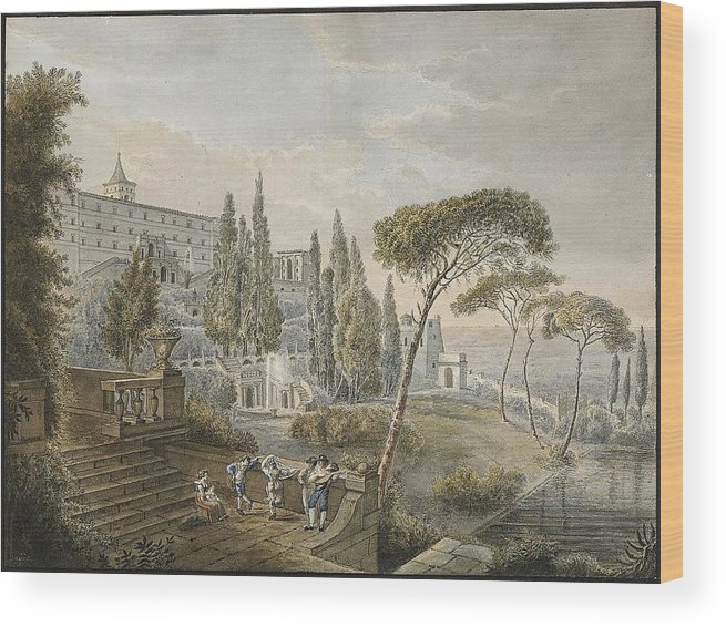 Lars Jacob Von Rook (1778-1867 By Tivoli With Villa D'este In The Fund Wood Print featuring the painting Tivoli With Villa by MotionAge Designs