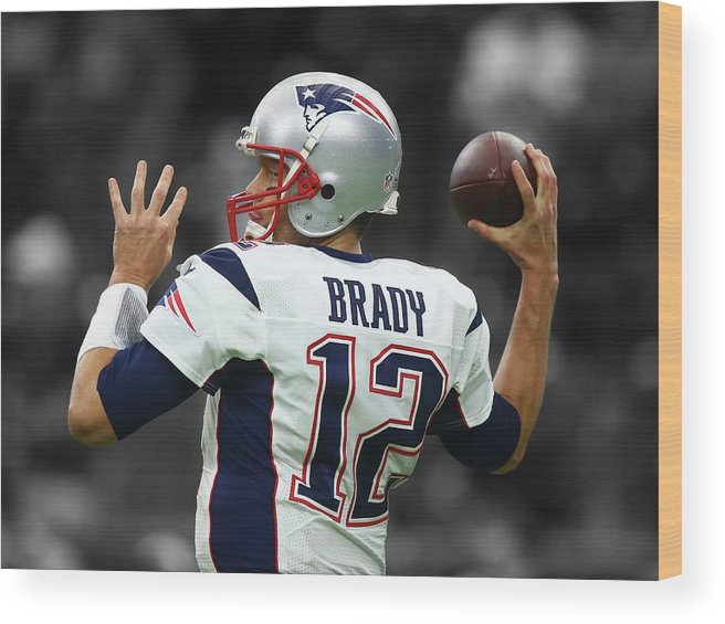 Tom Brady Wood Print featuring the photograph Tom Brady Patriots Super Bowl 2 by Movie Poster Prints