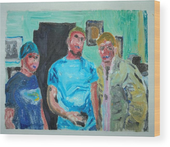 Kids Wood Print featuring the painting tough Kids by John Toxey