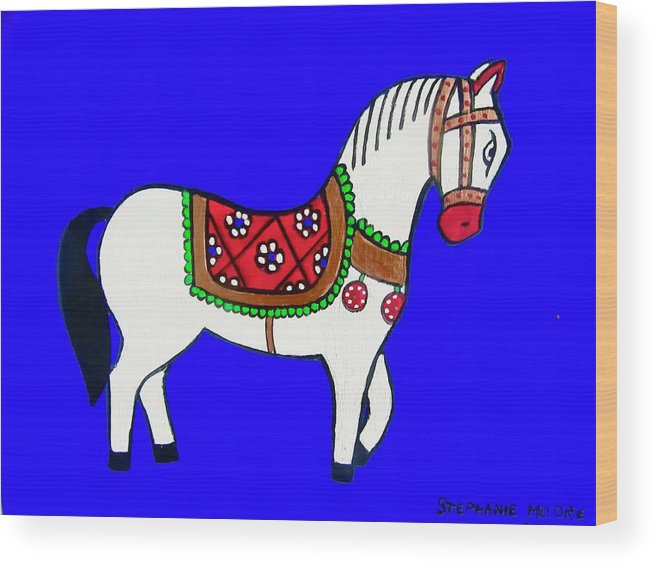 Horse Wood Print featuring the painting Toy Wooden Horse 1 by Stephanie Moore