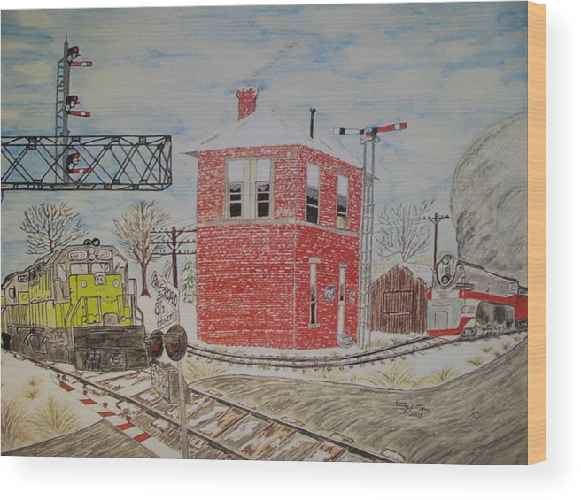 Train Wood Print featuring the painting Trains In Motion by Kathy Marrs Chandler