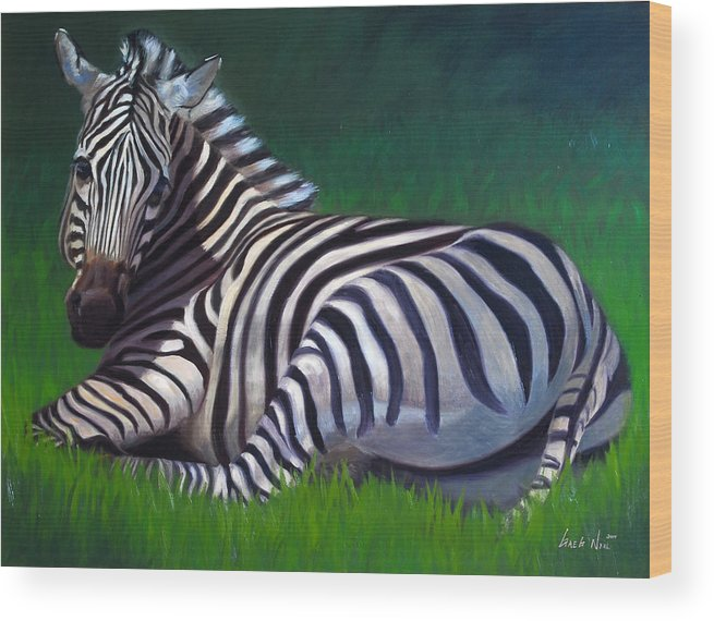 Zebra Wood Print featuring the painting Tranquility by Greg Neal