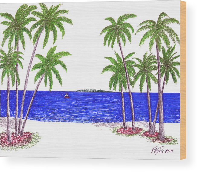 Pen And Ink Tropical Beach Drawing Wood Print featuring the drawing Tropical Beach by Frederic Kohli