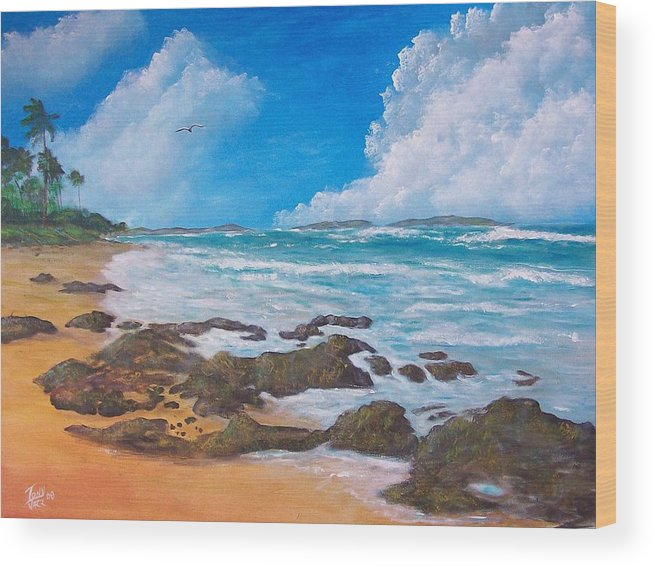Seascape Wood Print featuring the painting Tropical Seascape by Tony Rodriguez