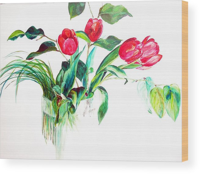 Flower Wood Print featuring the painting Tulipes by Muriel Dolemieux