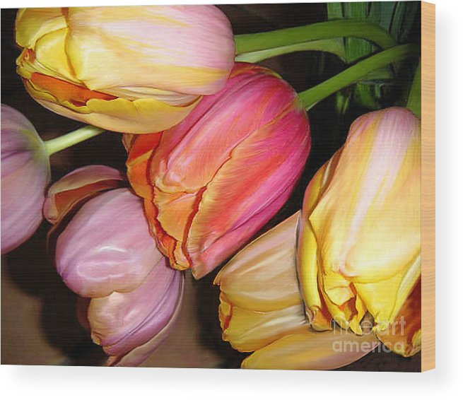 Nature Wood Print featuring the photograph Tulips All Together by Lucyna A M Green