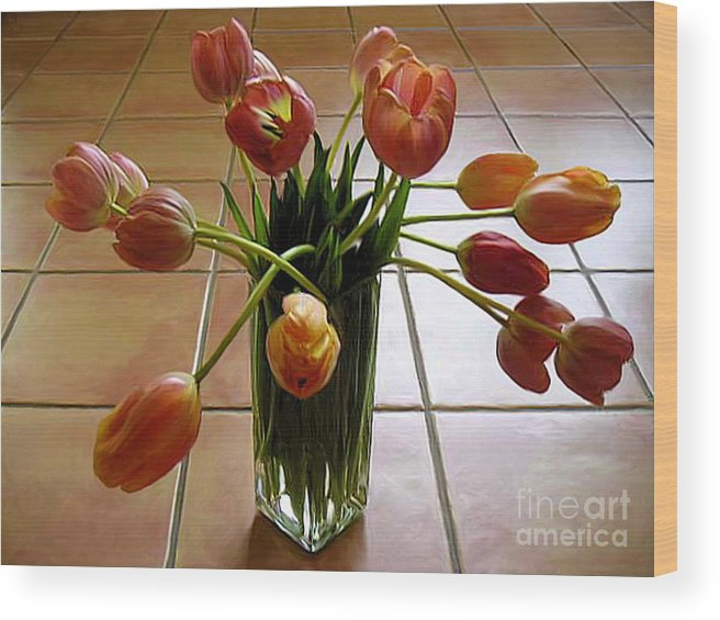 Nature Wood Print featuring the photograph Tulips In A Vase On Tile by Lucyna A M Green