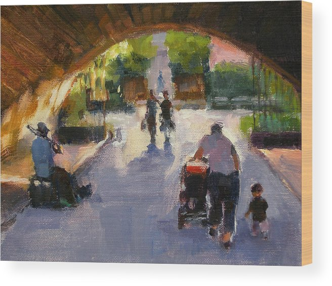 Urban Landscape Wood Print featuring the painting Tunnel In Central Park by Merle Keller