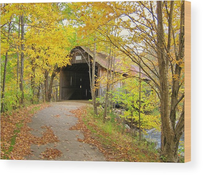 Nh Wood Print featuring the photograph Turkey Jim's Covered Bridge by Wayne Toutaint
