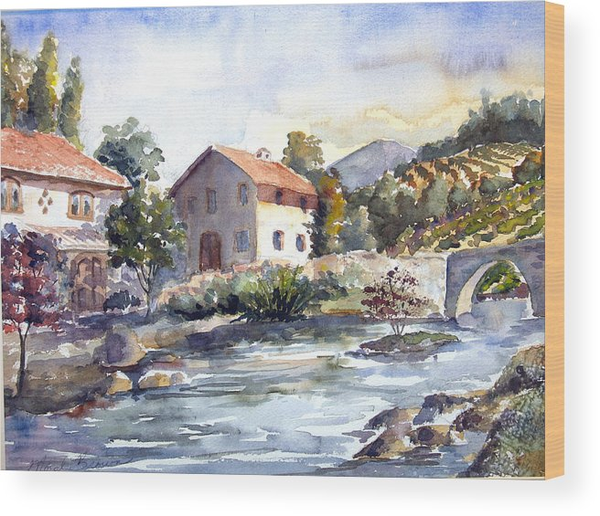Landscape Wood Print featuring the painting Tuscany Village by Norah Brown