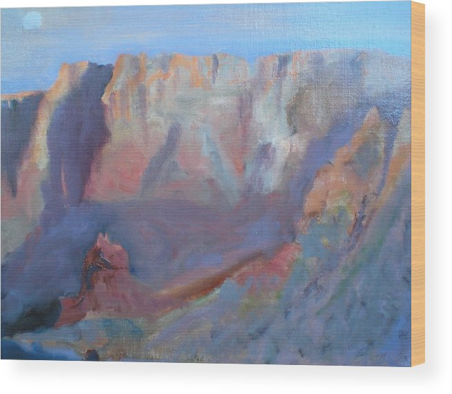 Landscape Sunset Virgin River Gorge Wood Print featuring the painting Twilight Time by Bryan Alexander