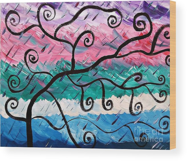 Tree Wood Print featuring the painting Unordinary Tree by Adenike Brewington