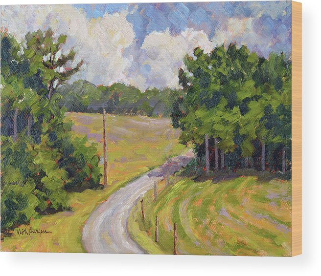 Impressionism; Realism; Landscape; Nature; View; Overlook; Agriculture; Farm; Vineyard; Grapes; Vines; Arbor; Post; Fence; Leaves Wood Print featuring the painting Up Orchard Lane by Keith Burgess