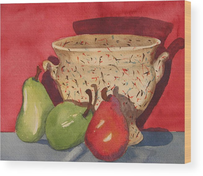 Pears Wood Print featuring the painting Urn With Pears by Libby Cagle