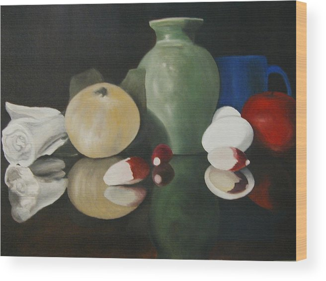 Still Life Wood Print featuring the painting Vase With Radishes by Angelo Thomas