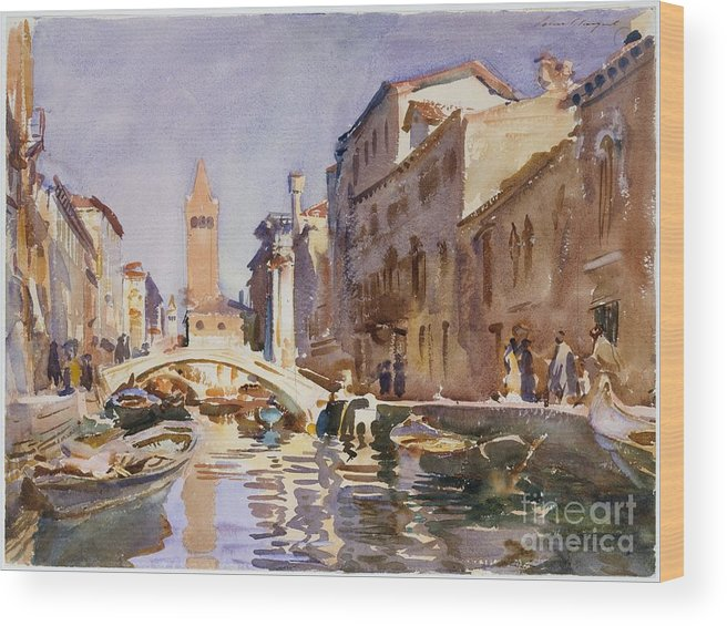 Venetian Canal Wood Print featuring the painting Venetian Canal by Celestial Images