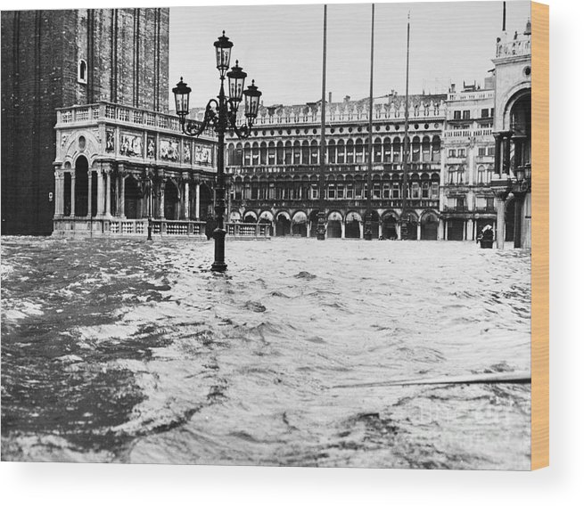 1966 Wood Print featuring the photograph Venice: Flood, 1966 by Granger