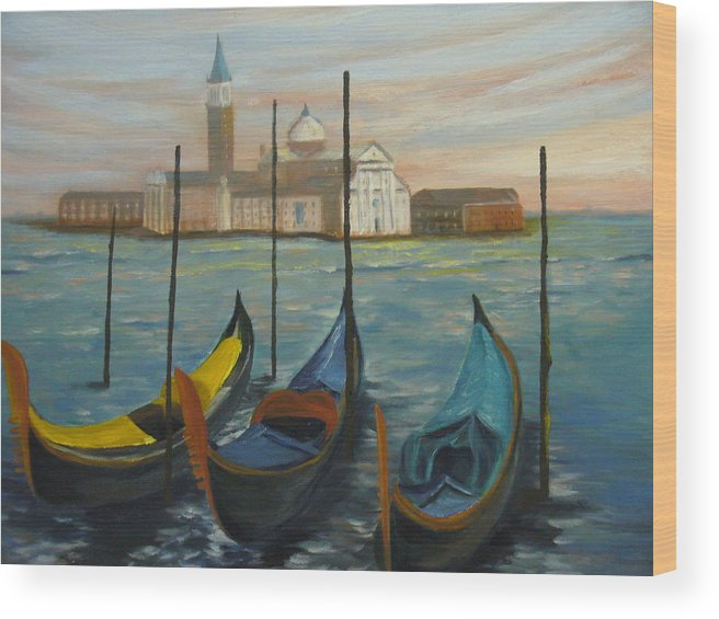 Italy Wood Print featuring the painting Venice by Joe Lanni