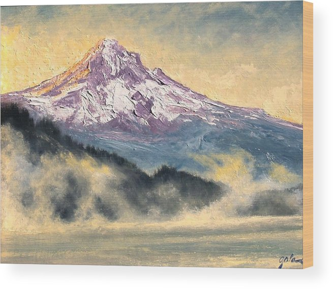 Lanscape Wood Print featuring the painting View Of Mt Hood by Jim Gola