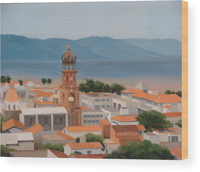 Mexico Wood Print featuring the painting View Over Puerto Vallarta by Robert Rohrich
