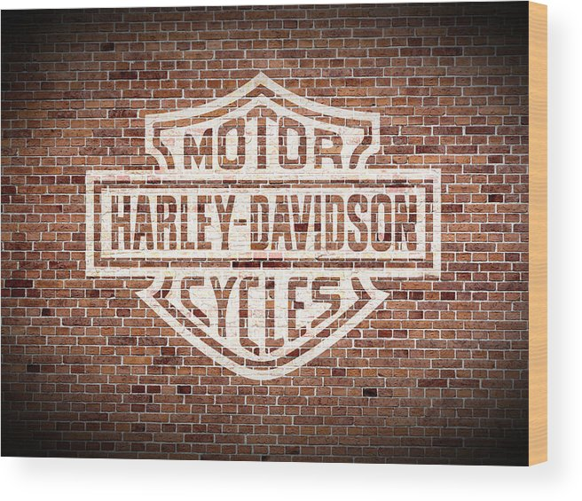 Vintage Wood Print featuring the mixed media Vintage Harley Davidson Logo Painted On Old Brick Wall by Design Turnpike