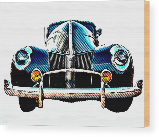 Ford Wood Print featuring the drawing Vintage V8 Ford by Little Bunny Sunshine