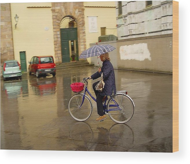 Lady On Bicycle Wood Print featuring the photograph Visions Of Italy Lucca by Nancy Bradley