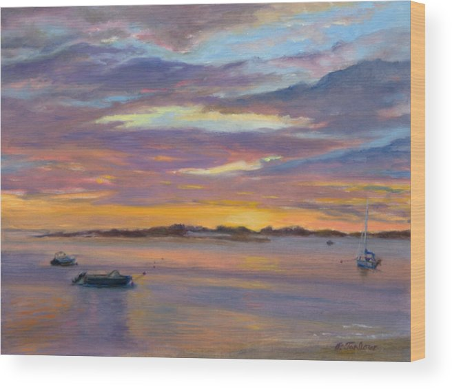 Landscape Wood Print featuring the painting Wades Beach Sunset by Phyllis Tarlow