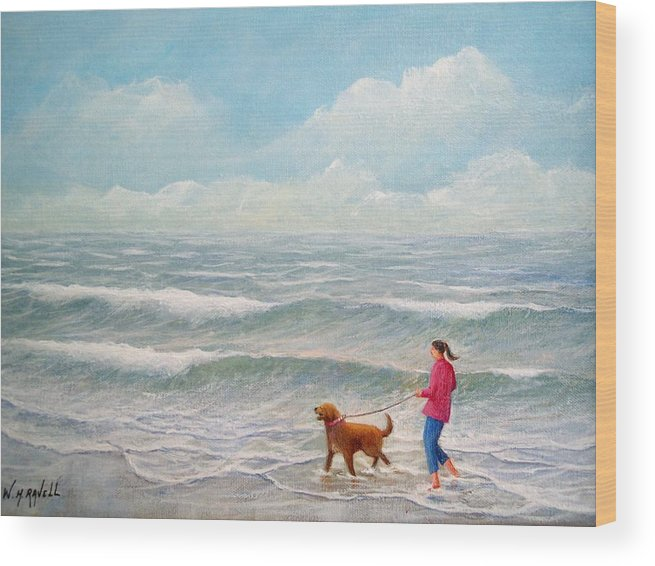 Seascape Wood Print featuring the painting Wading With Willy by William H RaVell III