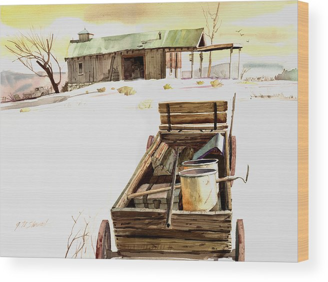 Watercolor Wood Print featuring the painting Wagon At White Sands by John Norman Stewart