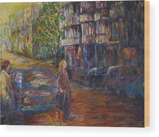 People Wood Print featuring the painting Waiting - New York by Wendy Chua