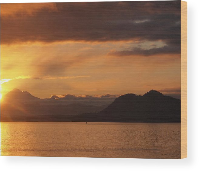 Sunrise Wood Print featuring the photograph Watching The Sun Rise Over Mt. Baker by Frieda Cron