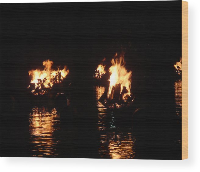 Water Fire Wood Print featuring the photograph Water Fire by Jeff Porter