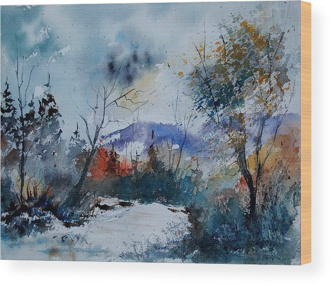 Landscape Wood Print featuring the painting Watercolor 802120 by Pol Ledent