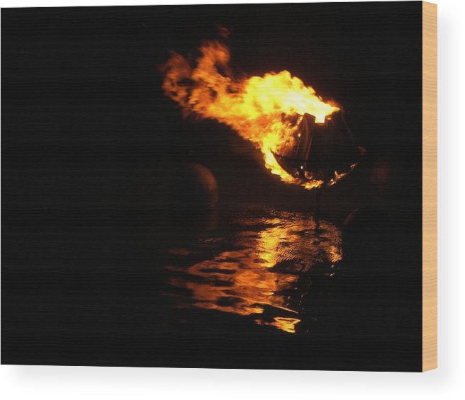Brazier Wood Print featuring the photograph Waterfire 2007-1 by Nancy Ferrier
