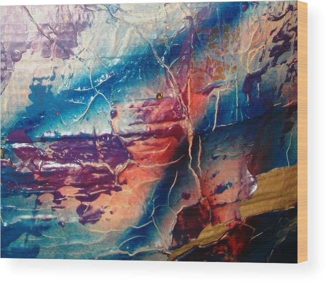 Abstract Wood Print featuring the painting What Have We Done To The Sea by Bruce Combs - REACH BEYOND