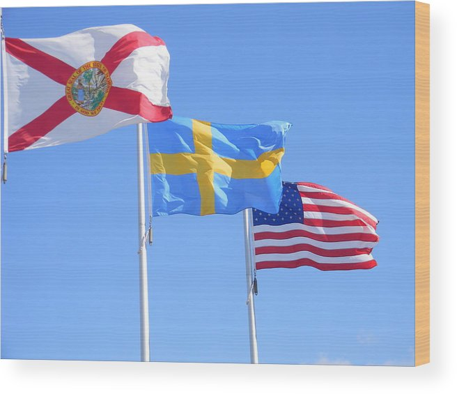 Flags Wood Print featuring the photograph Where Florida Sweden And Us Meet by Warren Thompson