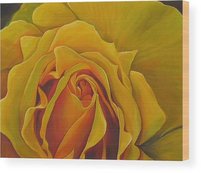 Yellow Rose Wood Print featuring the painting Where The Rose Is Sown by Hunter Jay