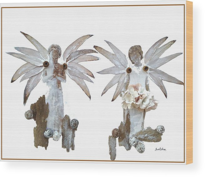 Angels Wood Print featuring the painting White Angels by Thais Helena Ouzounian