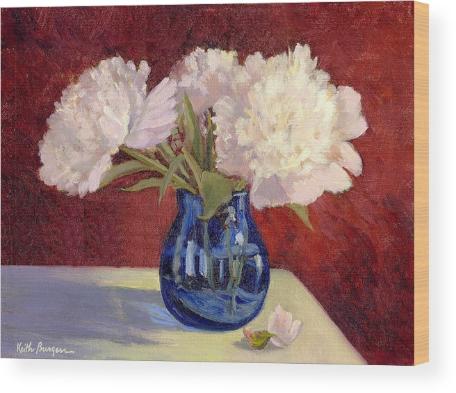 Peonies Wood Print featuring the painting White Peonies by Keith Burgess