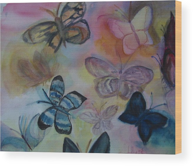 Butterfly Wood Print featuring the painting Who Is Prettiest by Marian Hebert