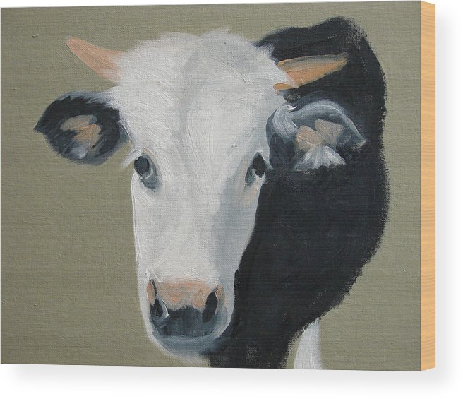 Cattle Wood Print featuring the painting Who You Lookin At by Robert Rohrich