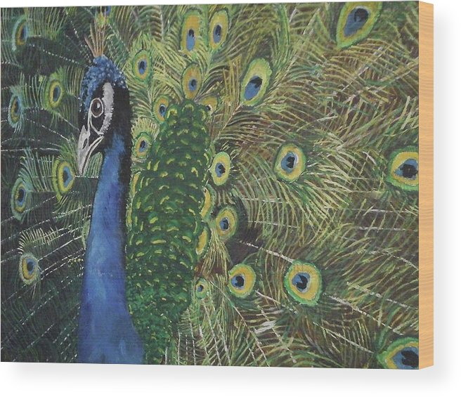 Bird Wood Print featuring the painting Whose A Pretty Boy Then by Paula Bettam