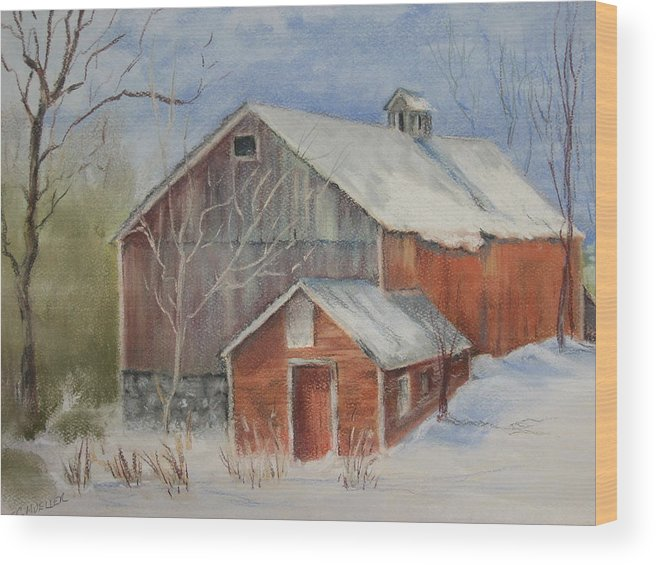 Barn Wood Print featuring the painting Williston Barn by Carol Mueller