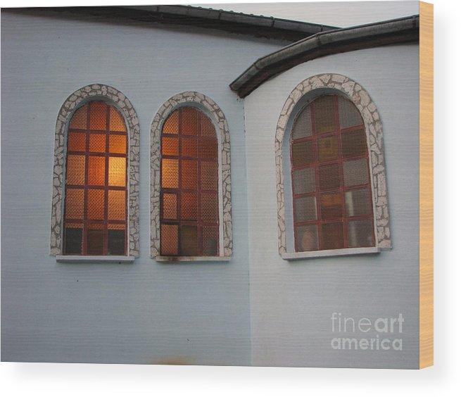 Architectual Wood Print featuring the photograph Windows by Iglika Milcheva-Godfrey