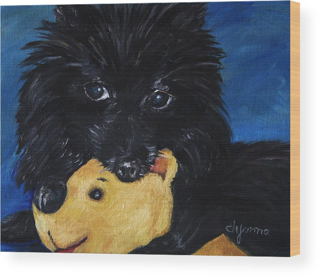 Dog Wood Print featuring the painting Winnie And Pooh by Dyanne Parker